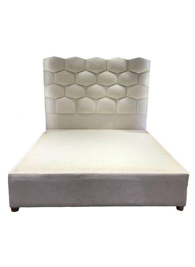 سرير كتان منجد من ان هاوس بجميع المقاسات بدون مرتبة -بيج -خلية نحل
