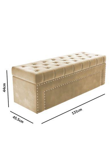 مقعد غرفة نوم المخمل بمساحة تخزين 131*45.5*44 سم