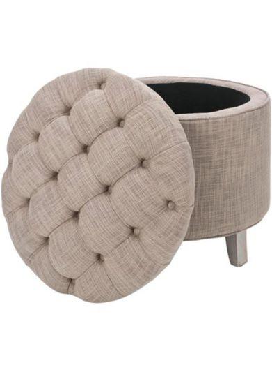 صندوق الديكور المنجد الدائري من الكتان بأرجل خشبية و مساحة تخزين 52*52*37 سم