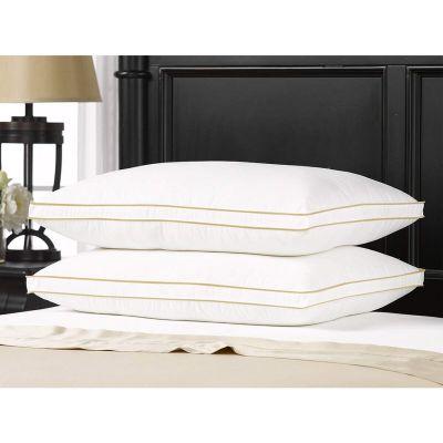 مخدة سرير فندقية ، مزيج ألوان الأبيض و الذهبي ، وزن 1600 جرام ، مقاس 50*90 سم