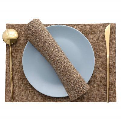 مفرش مائدة للصحون فرشة طاولة سفرة من نسيج الكتان - قياس 30*45 سم