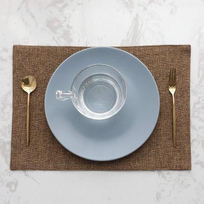 طقم 4 قطع مفارش مائدة للصحون فرشة طاولة سفرة من نسيج الكتان - قياس 30*45 سم