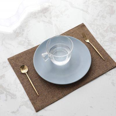 طقم 6 قطع مفارش مائدة للصحون فرشة طاولة سفرة من نسيج الكتان - قياس 30*45 سم