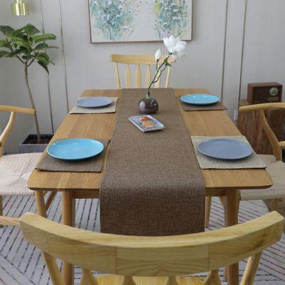 مفرش مائدة فرشة طاولة للسفرة من نسيج الكتان - قياس 30*180 سم