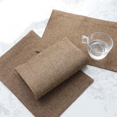 طقم 8 قطع مفارش مائدة للصحون فرشة طاولة سفرة من نسيج الكتان - قياس 30*45 سم