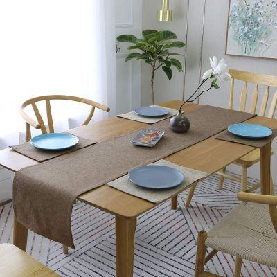 طقم 5 قطع مفارش مائدة فرشة طاولة سفرة من نسيج الكتان - قياس 30*180 سم & 4 × 30*45 سم