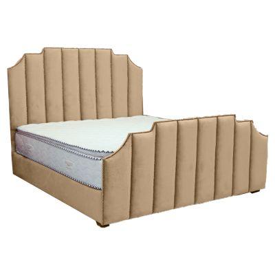 سرير تاج - ظهرية ومقدمة مستقيمة شرائح شاقولية عصرية من الخشب السويدي