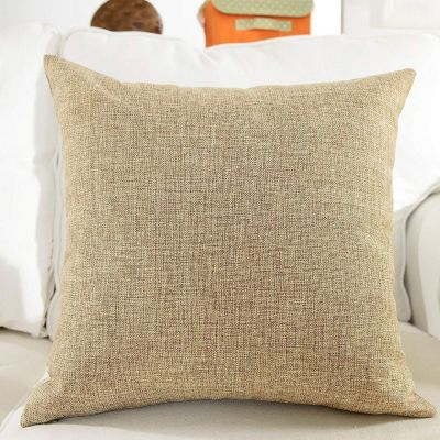 American polo Natural Beige Linen Decorative Solid Filled Cushion, 25x25cm
