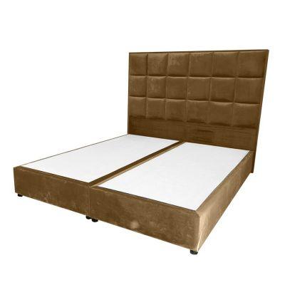 سرير مربعات - ظهرية مستقيمة منجدة أنيقة من الخشب السويدي