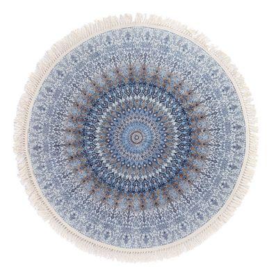 سجادة دائرية ناعمة الملمس أزرق - 120x120سم - DT25567.101