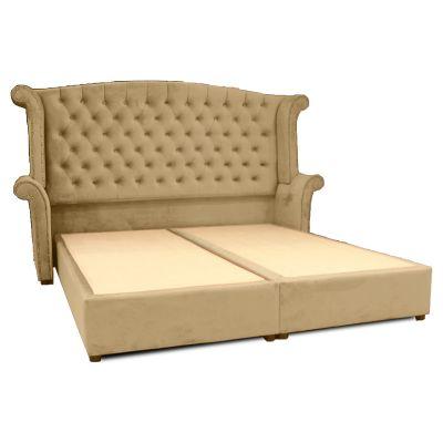 إطار سرير داماسكينو - ظهرية مستقيمة منجدة بتصميم عصري من الخشب السويدي