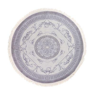 سجادة دائرية ناعمة الملمس رمادي - 120x120سم - VERSACE grey