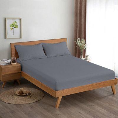 شرشف سرير ، حجم مفرد ، لون فضي ، قطعتين ، مقاس 140*200 سم