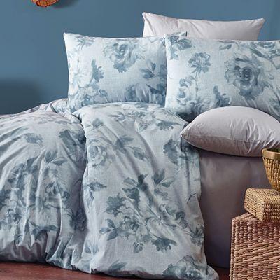 طقم مفرش أوربي رويال من القطن، حجم مفرد كوين، لون أزرق وفضي، 6 قطع، مقاس 240*190 س