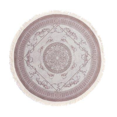 سجادة دائرية ناعمة الملمس بني - 120x120سم - VERSACE brouwn