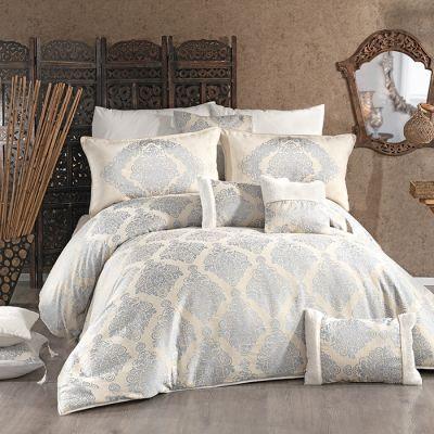 طقم مفرش سرير عرايسي، لون رمادي و بيج، حجم مجوز ، 12 قطعة ، قياس 240*260 سم