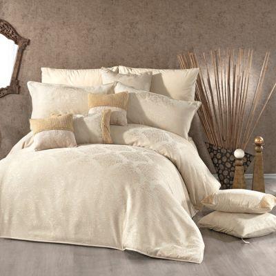 طقم مفرش سرير عرايسي، مصنوع من القطن، لون بيج، حجم مجوز، عدد 12 قطعة ، قياس 260*260 سم