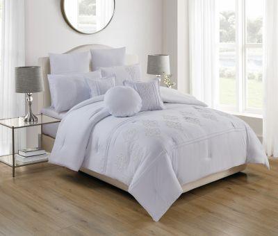 مفرش فندقي ان هاوس، مطرز ، مُصنع من القطن، لون أبيض فاتح ،عدد 8 قطع ، 240*260 سم