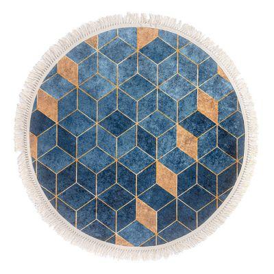 سجادة دائرية ناعمة الملمس أزرق وذهبي - 120x120سم - DT35487.101