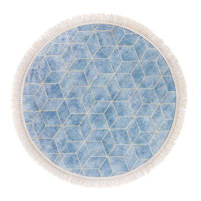 سجادة دائرية ناعمة الملمس سماوي - 120x120سم - DT35487.104