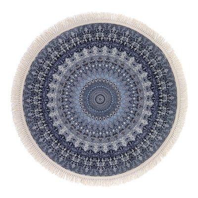 سجادة دائرية ناعمة الملمس أزرق - 120x120سم - DT25567.102