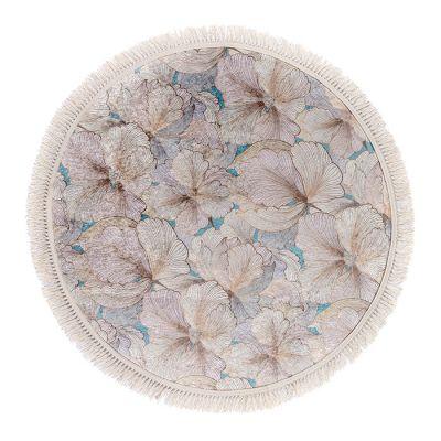 سجادة دائرية ناعمة الملمس بيج - 120x120سم - DT03287.101
