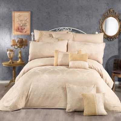 طقم مفرش سرير عرايسي، مُصنع من القطن، حجم مجوز، لون بيج، عدد 12 قطعة ، مقاس 240*260 سم