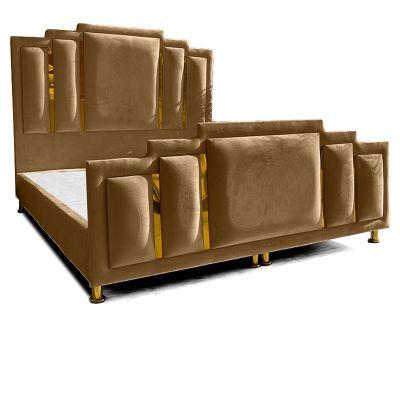 سرير باريس - ظهرية مستقيمة مع مقدمة منجدة عصرية من الخشب السويدي