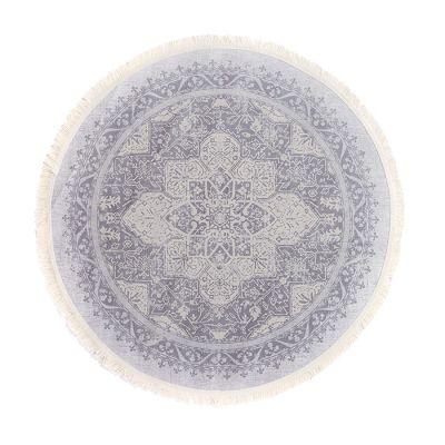 سجادة دائرية ناعمة الملمس رمادي - 120x120سم - FEYDA KİLİM grey