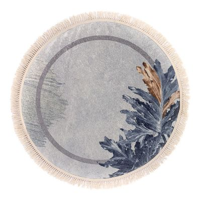 سجادة دائرية ناعمة الملمس سماوي - 120x120سم - DT35786.102