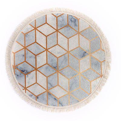 سجادة دائرية ناعمة الملمس ملونة - DT03154.101