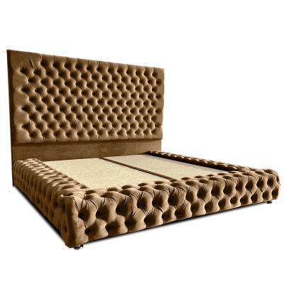 سرير بالنسيا ظهرية مستقيمة منجدة مع مقدمة صندوق وجوانب عصرية من الخشب السويدي