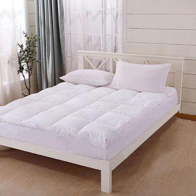 لباد مع غطاء من القطن - طبقتين - زاوية إطار - لون أبيض - 200x200x14سم