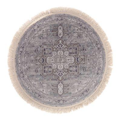 سجادة دائرية ناعمة الملمس رمادي - 120x120سم - DT02238.103