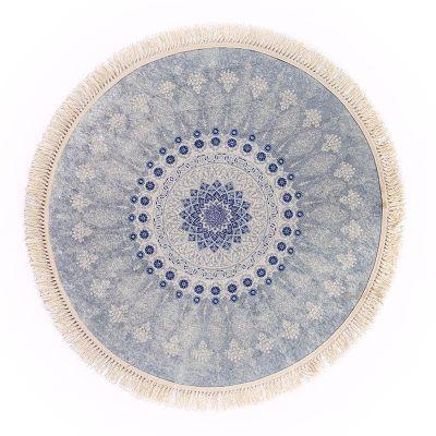 سجادة دائرية ناعمة الملمس أزرق - DT25524.107