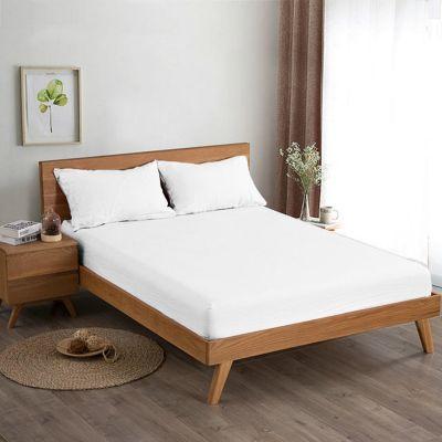 طقم شرشف سرير ، بلون أبيض ، مجوز ، 3 قطع ، مقاس 200*200 سم