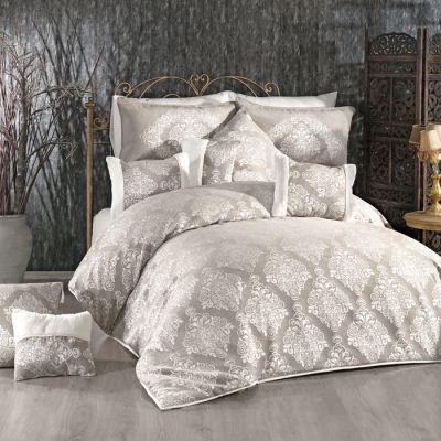 مفرش غرفة نوم عرايسي، لون رمادي و أبيض، حجم مجوز، 12 قطعة ، قياس 260*240 سم
