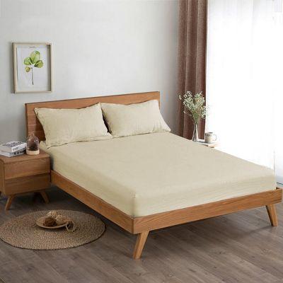شرشف سرير ، حجم مفرد ، لون بيج ، قطعتين ، مقاس 140*200 سم