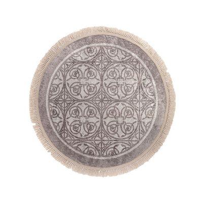 سجادة دائرية ناعمة الملمس رمادي - 120x120سم - DT02291.102