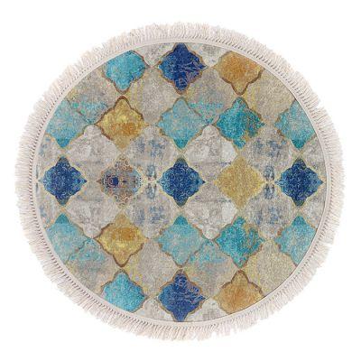 سجادة دائرية ناعمة الملمس ملونة - 120x120سم - DT35759.101